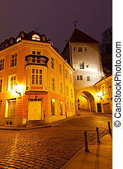 Night Street in the Old Town of Tallinn, Estonia