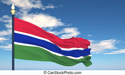 Flag Of Gambia on the background of the sky and flying...