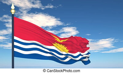 Flag Of Kiribati on the background of the sky and flying...