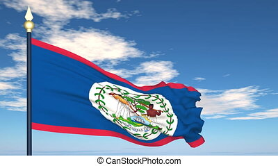 Flag Of Belize on the background of the sky and flying...