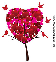 valentine tree - vector love tree with birds