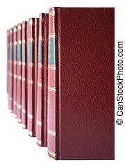 läder, hårt, täcka, böcker, röd, Rad