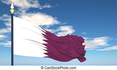 Flag Of Qatar on the background of the sky and flying...