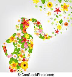 femme, et, fleur