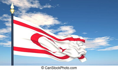 Flag Of Northern Cyprus on the background of the sky and...
