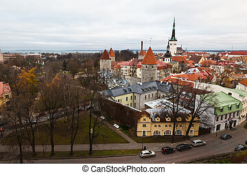 Panoramic View on City Walls and Towers of Old Tallinn,...