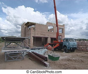 Builder old crane - New private house construction....