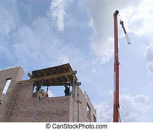 Construct builder crane - New private house construction....