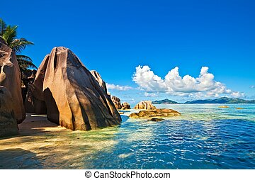 Seascape view with a huge stones, Seychelles, La Digue...