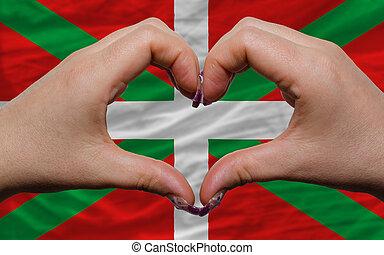 sur, drapeau, basque, montré, coeur, Amour, geste,...