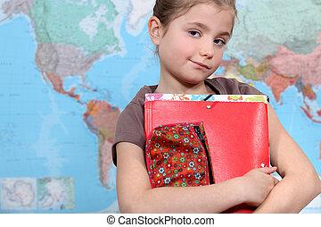 年輕, 女孩, 類別, 地理
