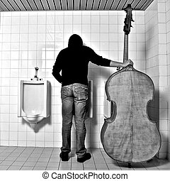 music in WC - a Double bass player with his Bass in WC