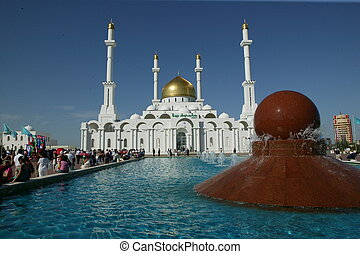 Fountain outside Nur Atana Mosque - Water fountain outside...