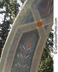 Arch to Rudaki, Dushanbe - Mosaic arch to Rudaki in...