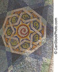 Rudaki monument Dushanbe park - Mosaic detail of the Rudaki...