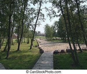 park path cobbled stones