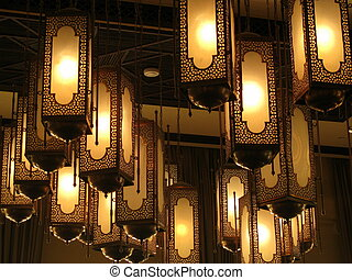 Arabic lanterns on the ceiling - Collection of traditional...