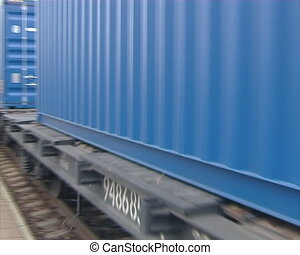 train metal containers - Freight train carrying metal...