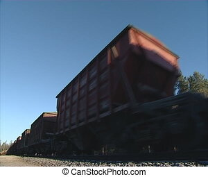 train wagon tracks - Freight train with many wagons traveled...