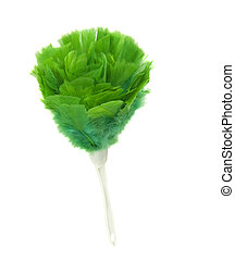 green feather duster on a white background