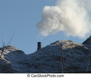 wood chips smoke chimney