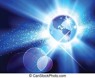 The Americas Globe Burst - Globe burst background showing...