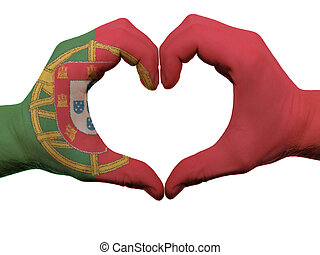 Gesture made by portugal flag colored hands showing symbol...