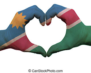 Gesture made by namibia flag colored hands showing symbol of...