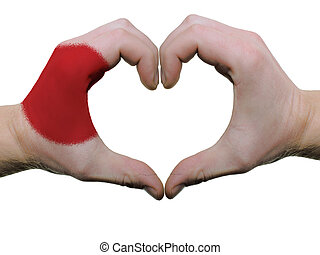 corazón, hecho, coloreado, amor, actuación, aislado, bandera, Plano de fondo, Manos, japón, blanco, símbolo, gesto