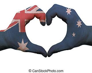 corazón,  Australia, coloreado, amor, actuación, aislado, bandera, hecho, Plano de fondo, Manos, blanco, símbolo, gesto