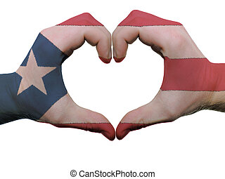 Gesture made by puerto rico flag colored hands showing...