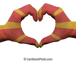 corazón, hecho, coloreado, amor, actuación, aislado,  Macedonia, bandera, Plano de fondo, Manos, blanco, símbolo, gesto