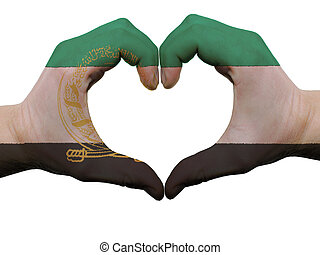 afganistán, hecho, coloreado, corazón, amor, actuación, aislado, bandera, Plano de fondo, Manos, blanco, símbolo, gesto