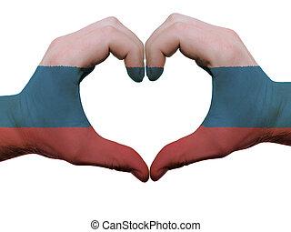 corazón, hecho, coloreado, amor, actuación, aislado, símbolo, bandera, Plano de fondo, Manos, blanco, Rusia, gesto