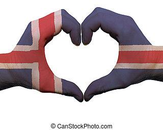 corazón, hecho, coloreado, amor, actuación, Manos, aislado, bandera, Plano de fondo, Islandia, blanco, símbolo, gesto