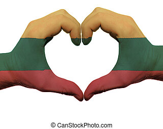 corazón, hecho, coloreado, amor, actuación, Lituania, aislado, bandera, Plano de fondo, Manos, blanco, símbolo, gesto
