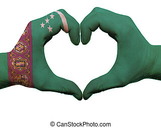 corazón, hecho, coloreado, amor, actuación, aislado, bandera, Plano de fondo, Manos, blanco, símbolo, gesto,  Turkmenistán