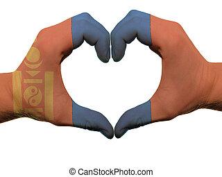 corazón, hecho, coloreado, amor, actuación, aislado,  mongolia, bandera, Plano de fondo, Manos, blanco, símbolo, gesto