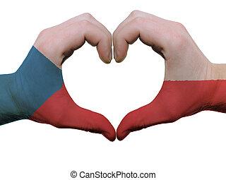 corazón, hecho, coloreado, checo, amor, actuación, aislado, bandera, Plano de fondo, Manos, blanco, símbolo, gesto