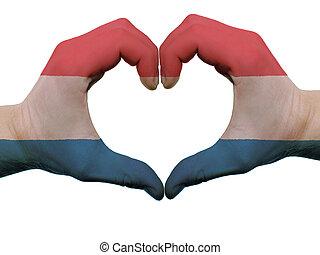 corazón, hecho, coloreado, amor, actuación, aislado, bandera, Plano de fondo, Manos, blanco, símbolo, gesto, holanda