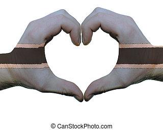 corazón, hecho, coloreado, amor, actuación, aislado, símbolo, bandera, Plano de fondo, Manos, blanco, Botsuana, gesto
