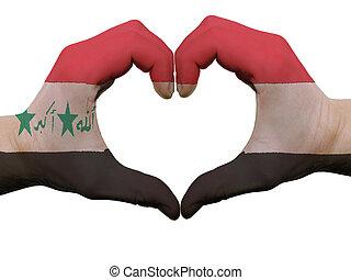 corazón, hecho, coloreado, amor, actuación, aislado, bandera, Plano de fondo, Manos, blanco, Irak, símbolo, gesto