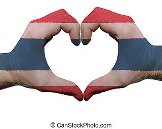 corazón, hecho, coloreado, amor, actuación, aislado, bandera, Plano de fondo, Manos, Tailandia, blanco, símbolo, gesto
