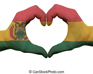 Gesture made by bolivia flag colored hands showing symbol of...