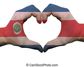 Gesture made by costa rica flag colored hands showing symbol...