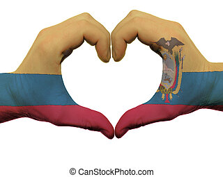 Gesture made by ecuador flag colored hands showing symbol of...