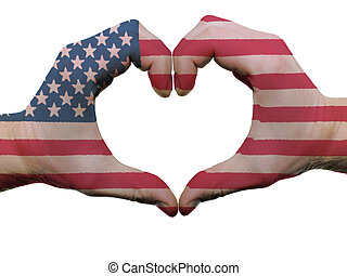 Gesture made by american flag colored hands showing symbol...