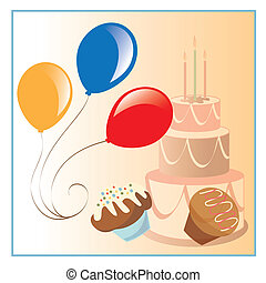happy birthday - illustration in a ilustrador eps file