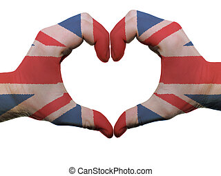 Gesture made by united kingdom flag colored hands showing...