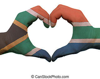 Gesture made by south africa flag colored hands showing...